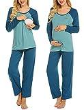 MAXMODA Damen Stillpyjama Stillschlafanzug für Schwangerschaft Umstandspyjama Langarm Shirt mit Langarm & Lange Hose Zweifarbiges Patchwork Pfauenblau S