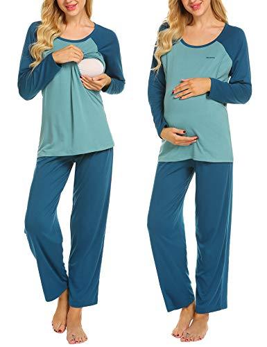 MAXMODA Damen Stillpyjama-Umstandspyjama-Schlafanzug Zweiteilig Hausanzug Pyjamas Langarm U-Ausschnitt Lange Hose Loungewear Pfauenblau XL