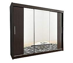 Kryspol Schwebetürenschrank Tokyo 2-250 cm mit Spiegel Kleiderschrank mit Kleiderstange und Einlegeboden Schlafzimmer- Wohnzimmerschrank Schiebetüren Modern Design (Wenge)