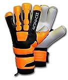Ichnos Braja Orange/Noir Hybride Gants Gardien de But Foot Football avec Barrettes (9)