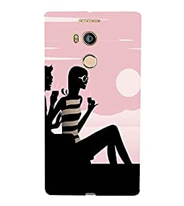 PrintVisa Chilling Couple Silhoutte Art 3D Hard Polycarbonate Designer Back Case Cover for Gionee E8