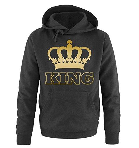 Comedy Shirts - KING - KRONE II - Herren Hoodie - Schwarz / Gold Gr. (Kinder King Krone)