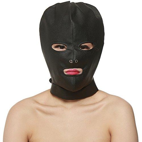 Greenpinecone® EXTREME Bondage Spandex Kopfmaske Latex-Maske Gesicht Maske Fetisch Kopfmaske mit Öffnungen Augen Mund Bondage Fetisch SM Rollenspiel