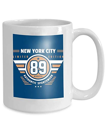 Mug Coffee Tea Cup Number New York City Typography Vintage Logo Retro Artwork Badge Outfit Print Two Colors Number New York 110z
