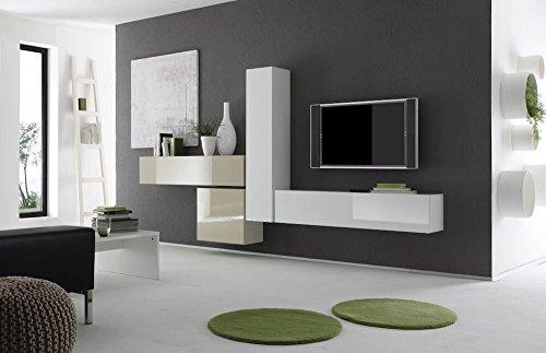 Sodani parete attrezzata mobili salotto 4 mobili sospesi 307x31x165cm boost bianco e beige