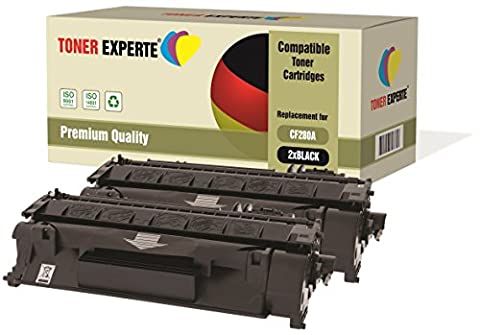 2-Pack TONER EXPERTE® Compatible with CF280A 80A Premium Toner Cartridges Replacement for HP Laserjet Pro 400 M401A, M401D, M401DN, M401DNE, M401DW, M401N, MFP M425DN, MFP