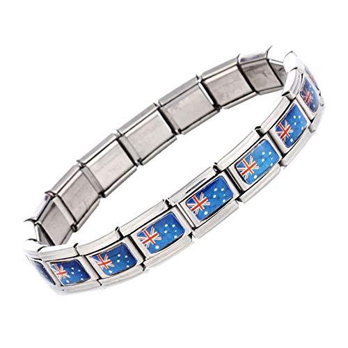 CTRCHUJIAN Edelstahl Australische Flagge Armbänder Elastische Einstellbare Kettenglied Armband Für Männer Frauen Charme Schmuck -