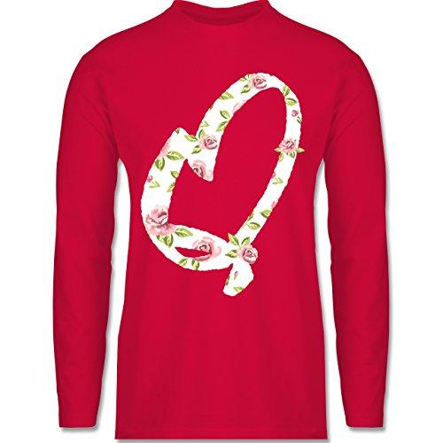 Shirtracer Anfangsbuchstaben - Q Rosen - Herren Langarmshirt Rot