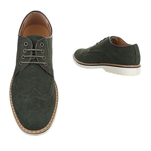 Ital-Design Budapester Stil Herrenschuhe Oxford Blockabsatz Schnürer Schnürsenkel Business-Schuhe Grün Olive