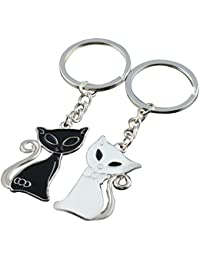Demarkt 1 Paire Porte-Clés Creative Car Keychain Porte-Clés Pocket Pop Chat  noir dc8a47e28a8