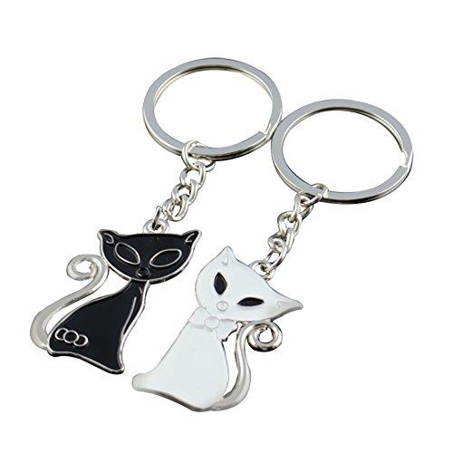 bigboba 1par par Llaveros Negro y Blanco gato clave cadena bolso de mano bolso de COCHE ACCESORIOS 9* 3* 0.2cm