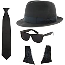 Blues Brothers Hat Sunglasses Tie Sideburns Fancy Dress Costume by Blue  Planet Online f19039808be1