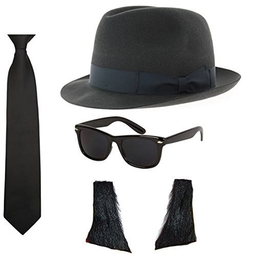 Blues Brothers Hat Sunglasses Tie Sideburns Fancy Dress Costume by Blue Planet Online