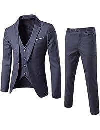 Harrms Hommes Costume Matière ultra-mince flexible trois pièces blazer + gilet + pantalon mince réunion ,mariage ,partie
