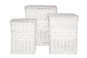Premier Housewares Panier à linge rectangulaire Doublure coton Osier Blanc Lot de 3