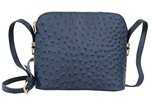 AMBRA Moda Damen Handtasche Umhängetasche Leder Tasche klein SL702 (Marineblau) (Handtasche Straußenleder)