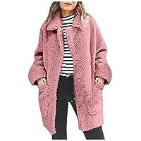 TIMEMEAN Womens Fleece Teddy Bear Jacket Winter Warm Fur Long Coat Pink Small