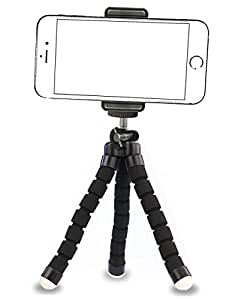 iPhone Tripod,by Ailun,Tripod Mount/Stand,Compact Phone Holder,for iPhone X/8/8Plus,7/7 Plus,6/6s,6/6s Plus,SE/5s/5/5c,Samsung Galaxy S7/S7 Edge,S6/S6Edge,Note 5/4/3 More Camera&Cellphone[Black]