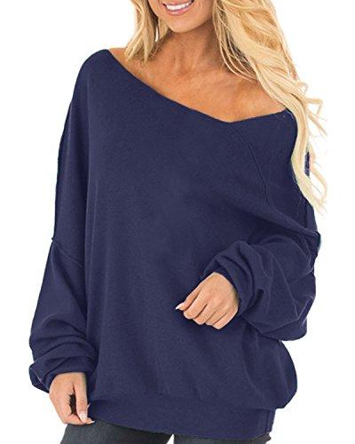 Auxo Damen Langarm Schulterfrei Jumper Lose Sweatshirt Pullover Oberteil Tops Hemd Oversize 01-blau EU 44-46/Etikettgröße XL (Pullover Damen-ausschnitt)