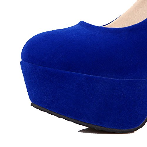 Odomolor Donna Tirare Punta Tonda Tacco Alto Plastica Ballerine Azzurro