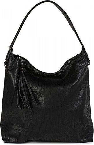 styleBREAKER Hobo Bag Handtasche im Vintage used Look, Quaste, Henkeltasche, Shopper, Tasche, Damen 02012149, Farbe:Schwarz (Handtasche Vintage Wildleder)