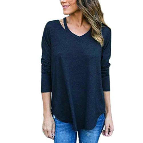 LHWY Damen Langarm T-Shirt Bluse lässig locker Baumwolle Oberteile Blau