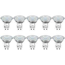 LE Ampoules LED GU10 4W (=50W Ampoule Halogène), PAR16 350lm, Blanc Chaud 2700K, 120° Larges Faisceaux, Lot de 10
