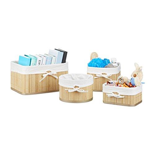 Relaxdays Aufbewahrungskörbe Set Bambus 17,5 x 32 x 23 cm HxBxT, 4er Set Aufbewahrungsbox für Regal und Schrank, natur