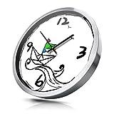 Xue Hui Moderna Sala de Estar Dormitorio silencioso Reloj de Pared Creativo 12/14 Pulgadas Reloj Redondo Graffiti Cuarzo Reloj de Pared (Color : Silver D, Tamaño : 14 Inches)