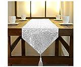 ShinyBeauty Tischläufer mit Quaste, schimmerndes Grün 30x 180cm, mit Glitzer und runden Pailletten, Tischläufer für Party /