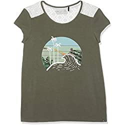 IKKS JUNIOR T Shirt Kaki BI Matiere APPORT Dentelle, Fille, Vert (Kaki 56)), X-Small (Taille fabricant:XS)