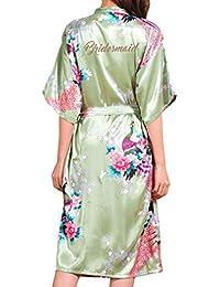 Kunfang Nueva Bata de Dama de Honor Satén Rayón Albornoz Camisón Mujeres Kimono Ropa de Formir