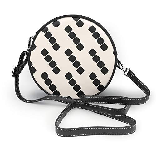 Wrution achteckige Formen personalisierte runde Umhängetasche mit Reißverschluss aus weichem Leder für Damen
