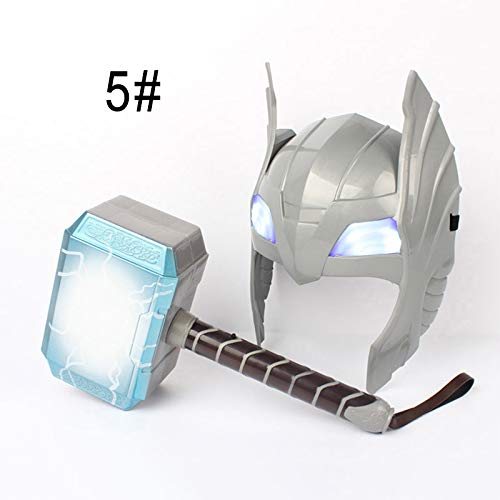 Crewell LED Glowing Sounds Thor Hammer Helm Maske Kinder Cosplay Spielzeug Action Figur Supplies Glorious Mask + Hammaer