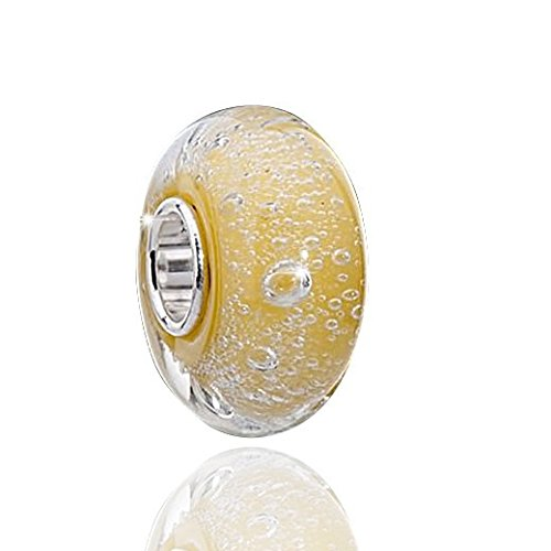 MATERIA Muranoglas Beads gelb Luftblässchen Element - 925 Silber Murano Beads Glas gelb inkl. Satinbeutel #1526