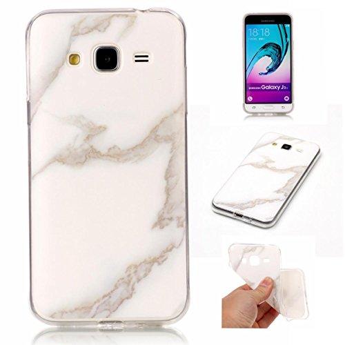 Meeter Samsung J3 2016 Hülle, Samsung Galaxy J3 2016 Marmor Hülle, Marmor Serie Flexible TPU Silikon Schutz Handy Hülle Handytasche HandyHülle Etui Schale Case Cover Tasche Schutzhülle