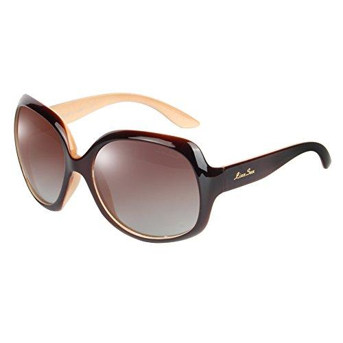 LianSan 2015 Women'Fashion Sonnenbrille, Uv400-Schutz, polarisierte Sonnenbrille Oversize Lsp301(polarisiert brown)