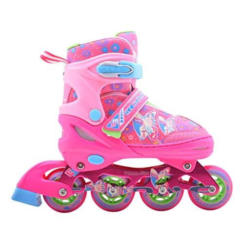 Tante Tina Farbenfrohe Inlineskates für Mädchen - Leuchtende Frontrollen - Rosa - XS (28-31) (Skate Inline Für Mädchen)