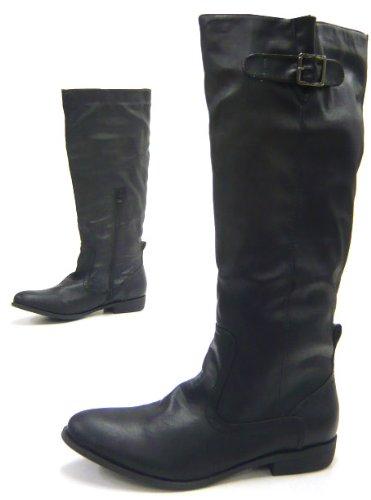 Klassische Damen Stiefel leicht gefütterte Reiterstiefel Boots Schwarz