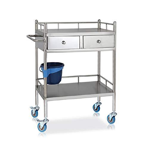 Salon Trolleys 2-stufiger medizinischer Edelstahlwagen mit 2 Schubladen und 2-Fach-Servierwagen zur Aufbewahrung von Laborwagen (größe : S(60x40x86cm))