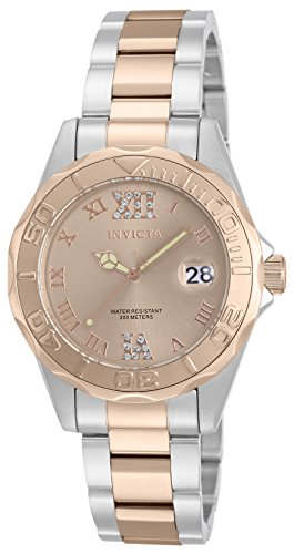 Invicta Women's Quartz Watch with Rose Gold Dial Analogue Display and Multicolour Gold Plated Bracelet 12853