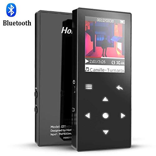 Hommie Bluetooth MP3 Player 8GB mit Touch Taste, 1,8 Zoll TFT Farbbildschirm HiFi Metall Musik Player mit FM Radio, Kopfhörer Unterstützt bis 128GB SD Karte, Schwarz