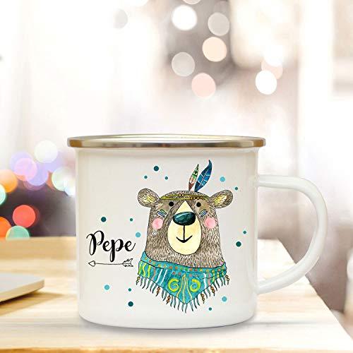 ilka parey wandtattoo-welt Emaillebecher mit Boho Bär & Name Wunschname Campingtasse mit Punkte Kaffeetasse Geschenk eb257