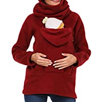 Astage Maternity Hoody Baby Carrier Mommy Sweater Newborn Holder Wrap Swaddle Sling Red 2XL