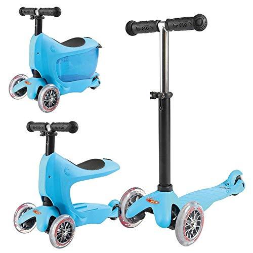Nuoyi 3-in-1-Tretroller mit abnehmbarem Sitz und Aufbewahrungsbox Ideal für Kinder und Kleinkinder Mädchen oder Jungen, höhenverstellbar, mit extra breitem Deck für Kleinkinder, Blue (Kleine Mädchen, Die Elektro-roller)