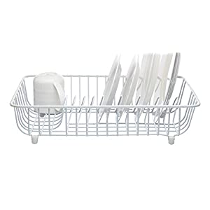 "KitchenCraft Anti-Rust Plastic-Coated Metal Dish Drainer Rack, 45 x 37 cm (17.5"" x 14.5"") - White"