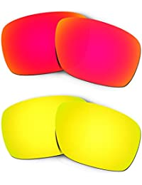 Hkuco Mens Replacement Lenses For Oakley Turbine Red/24K Gold Sunglasses