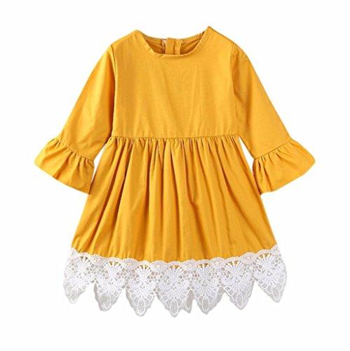 squarex Kinder Infant Kinder Mädchen massiv Plare Patchwork Spitze Tutu Kleidung Kleidung, Kinder, gelb (Jean Floral Manschette)
