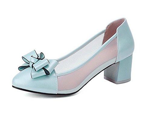 VogueZone009 Femme Matière Mélangee Tire Rond à Talon Correct Chaussures Légeres Bleu