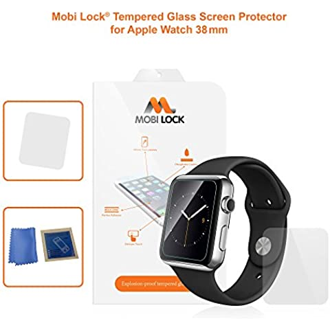 Protector de pantalla de cristal templado nuevo y todavía más fino (0,22mm) para Apple Watch (38 mm) - por Mobi Lock®